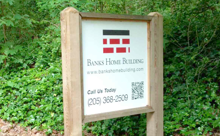 Banks Home Building Logo used in real life yard signage.