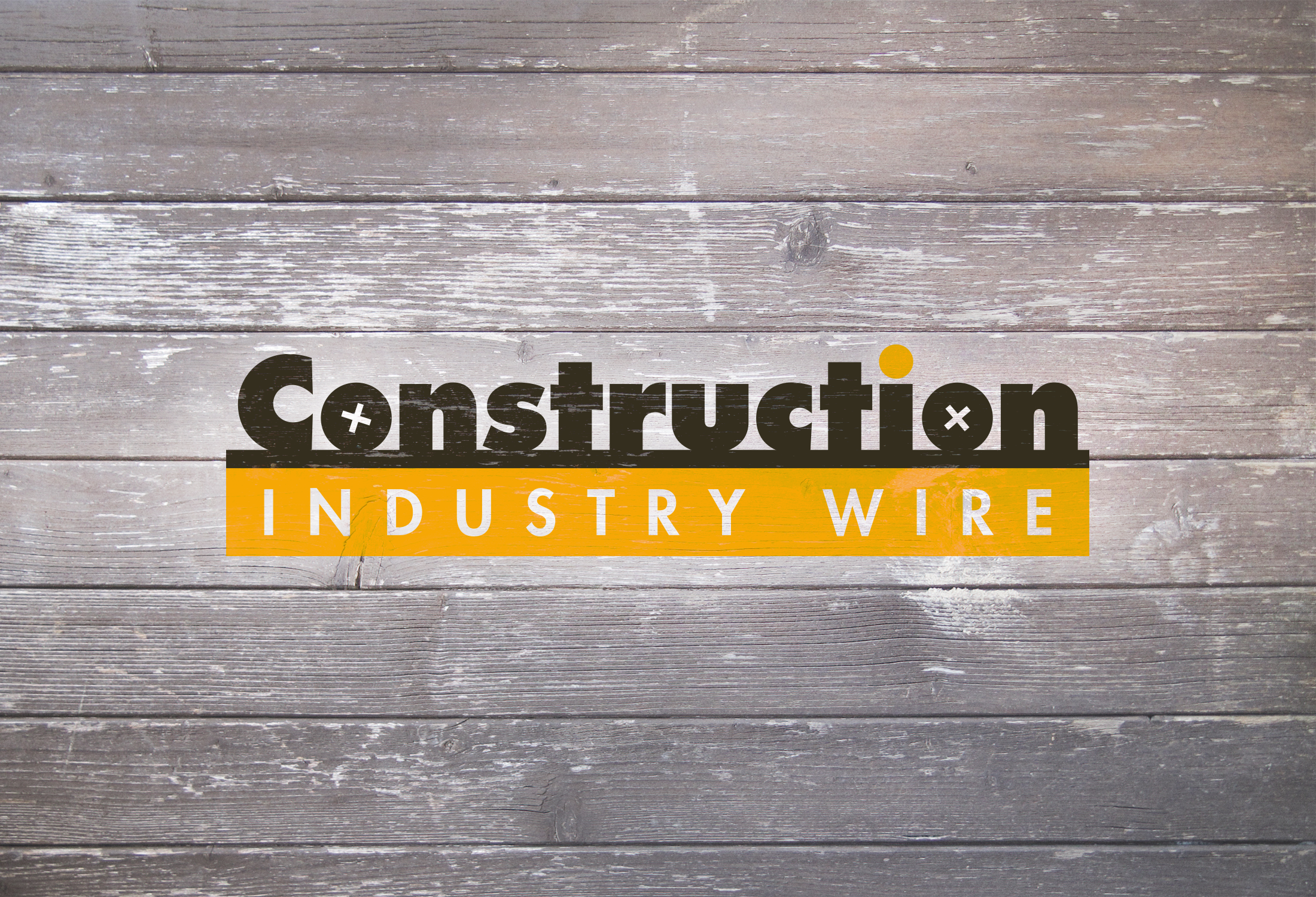 Construction Industry Wire Logo Against Wood Cladding.