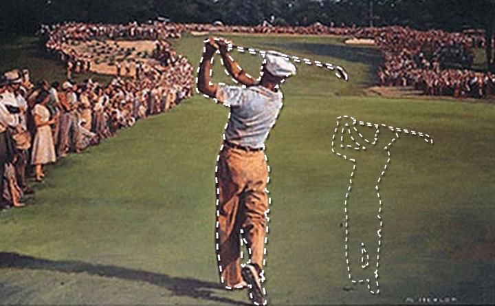 Layne Savoie Golf logo work in progress using Ben Hogan photo as reference material.