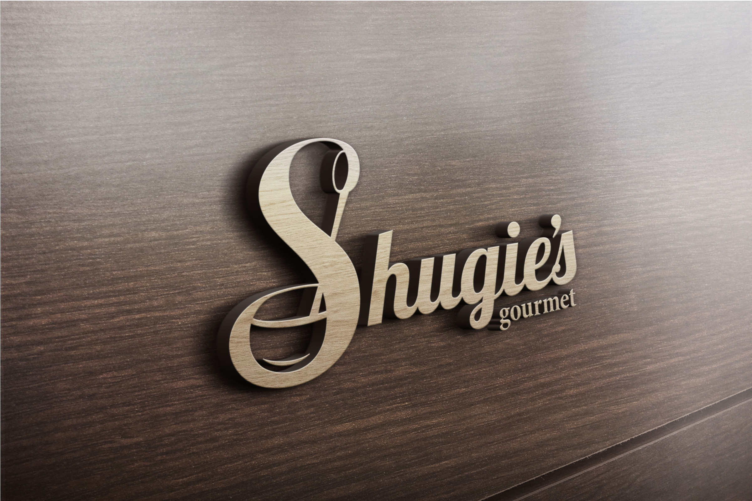 Shugie's Logo on Wood Signage.
