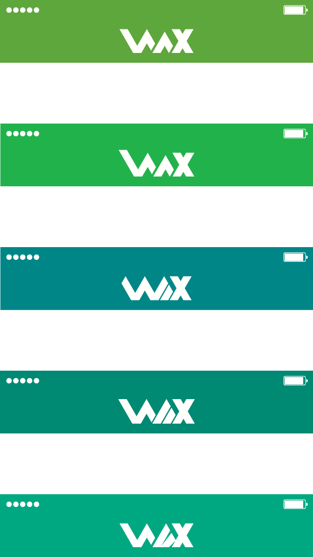 Iterations and variations of the Wax logo.