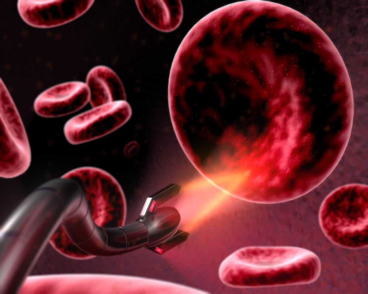Red Blood Cells being operated on by a nano-bot
