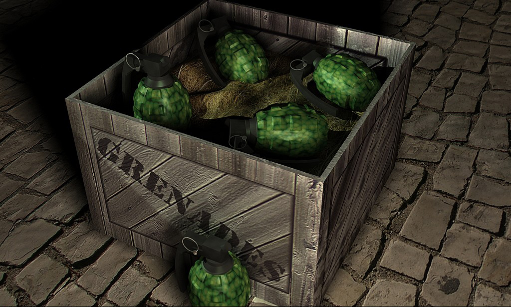 A box of grenades for a video game level