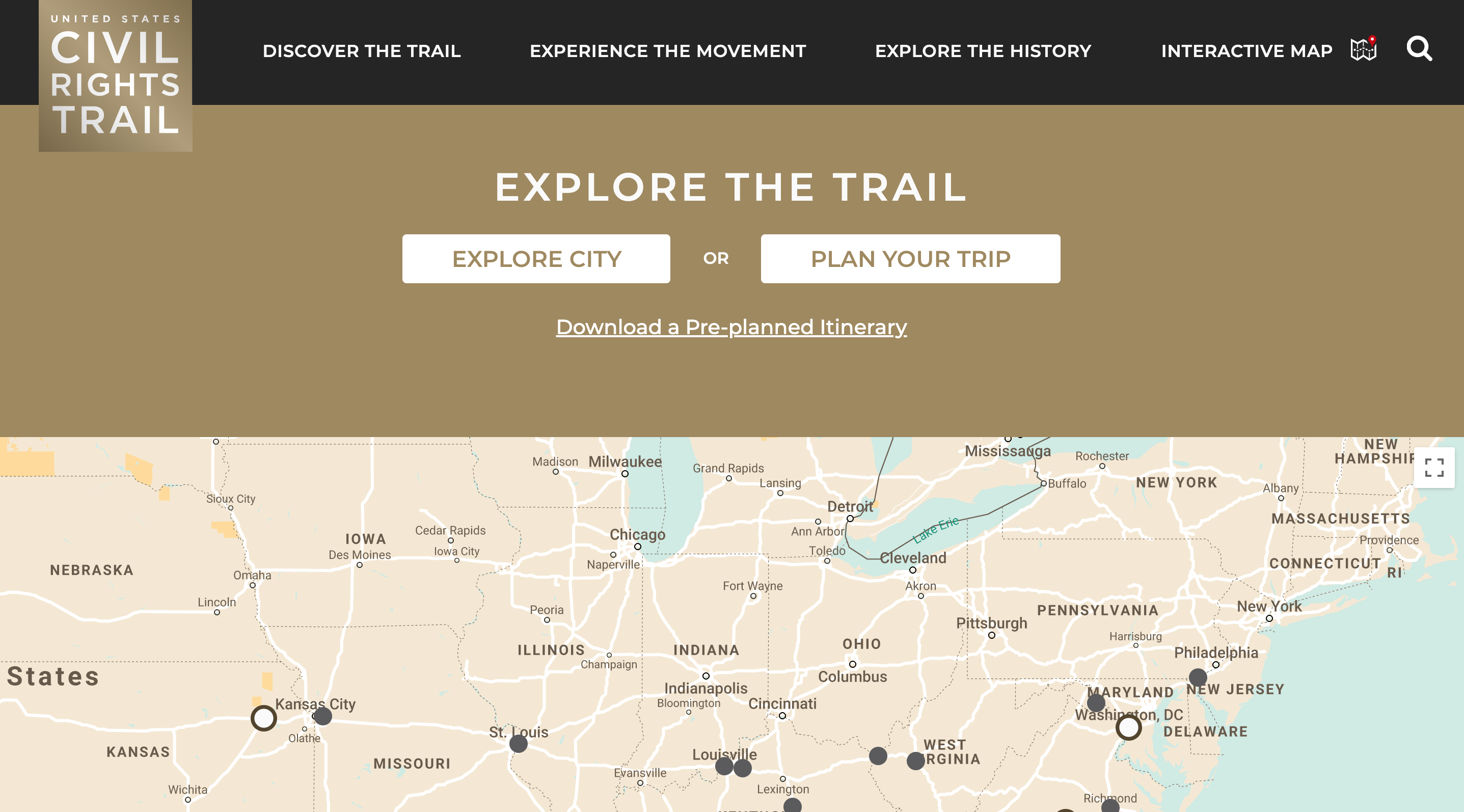 Civil Rights Trail - Interactive Map