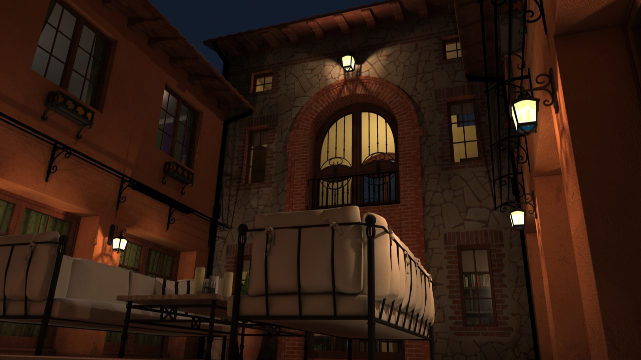 Courtyard scene at night