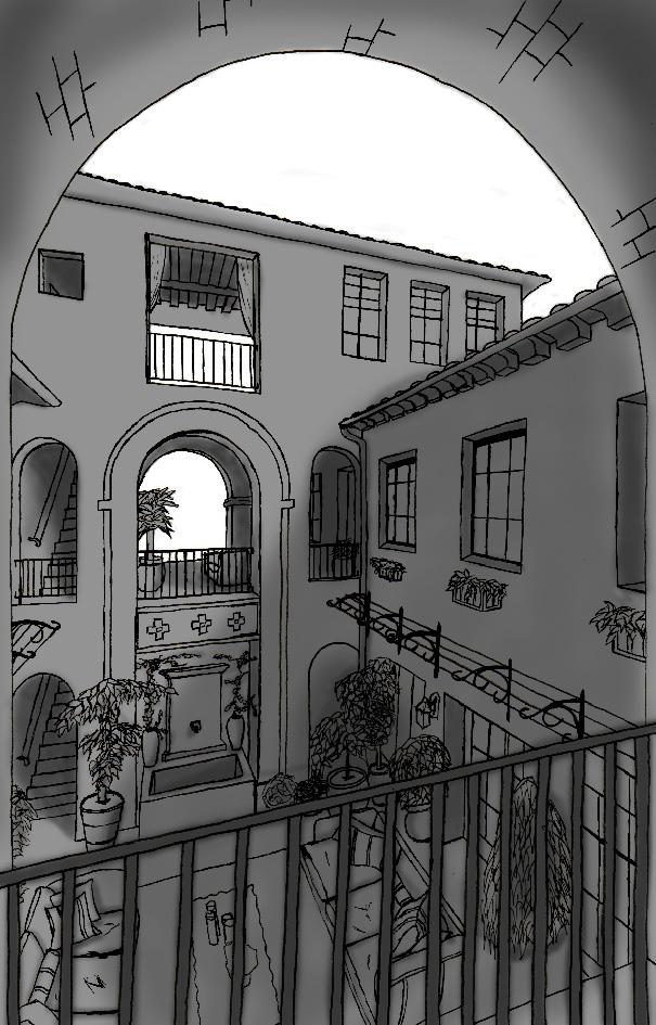 Courtyard scene reference art