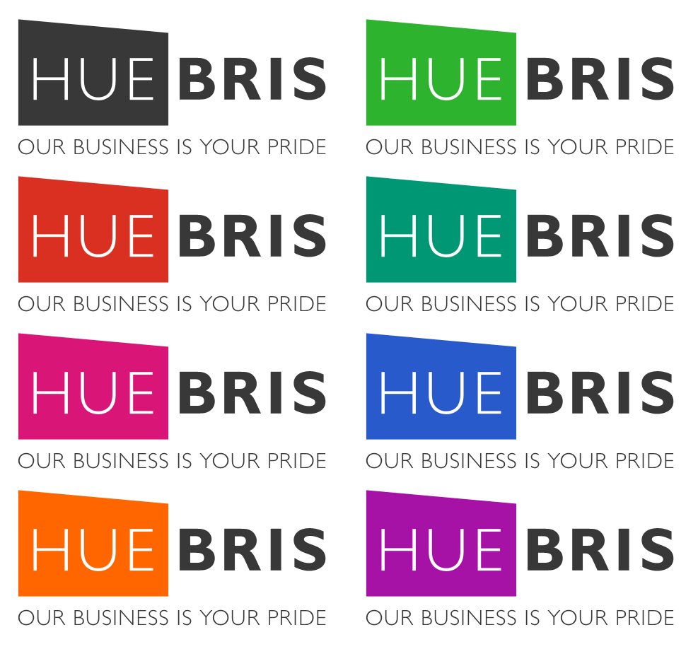 Huebris Second Logo Color Variations