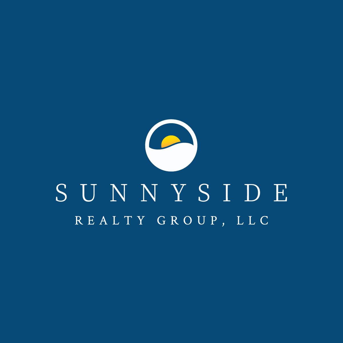 Sunnyside Realty logo against deep blue background.